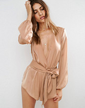 ASOS Satin Beach Playsuit with Plunge Neck and Long Sleeves