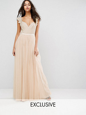 Needle & Thread Swan Tulle Maxi Dress With Frill Sleeve - Petal pink
