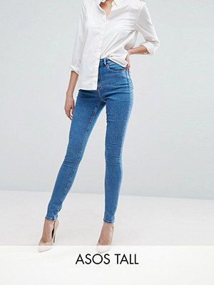 Asos Tall Ridley Mellanblå jeans i skinny fit