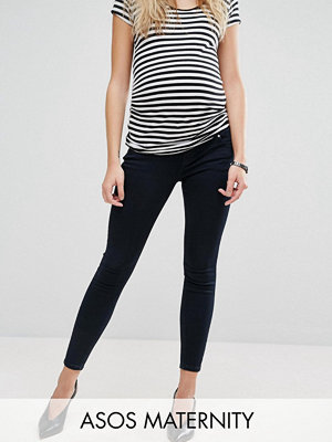 ASOS Maternity Ridley Skinny Jeans in Petunia Blackened Blue With Under the Bump Waistband - Deep blue