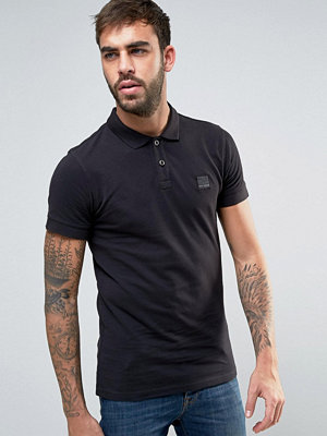 BOSS Orange by Hugo Boss Slim Polo Washed Pique in Black