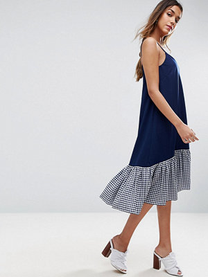 ASOS Cami Midi Dress with Dropped Hem in Gingham