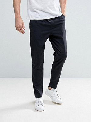 Byxor - Selected Homme Cropped Tapered Trouser with Elasticated Waist in Check