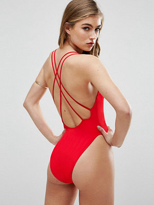 ASOS Cross Back High Leg Swimsuit