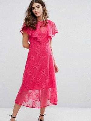 Miss Selfridge Ruffle Lace Overlay Midi Dress