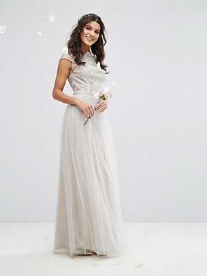 Chi Chi London Premium Lace Maxi Dress With Tulle Skirt And Cap Sleeve
