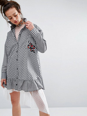 The Ragged Priest Shirt Dress In Gingham With Patch