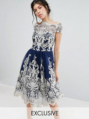 Chi Chi London Premium Metallic Lace Midi Prom Dress with Bardot Neck - Navy/ gold