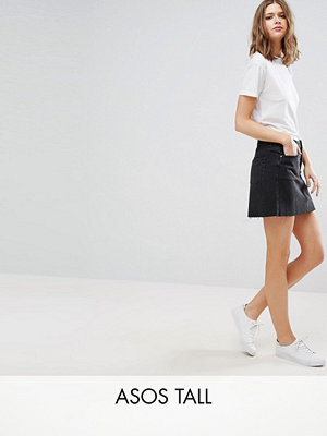 Asos Tall Denim Low Rise Skirt in Washed Black