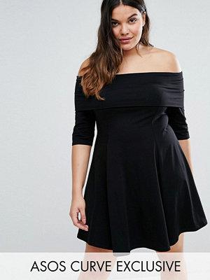 ASOS Curve Deep Bardot Mini Skater Dress with 3/4 Length Sleeve