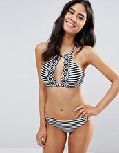 Paper Dolls Paperdolls Stripe Print Crop Bikini Set - Black/white
