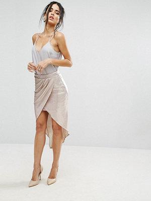 Little Mistress Metallic Wrap Over Skirt