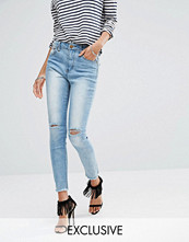 Liquor & Poker High Rise Ankle Skinny Jeans With Ripped Knee & Raw Hem Detail
