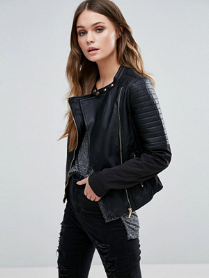 Brave Soul Biker Jacket With Faux Leather Panels