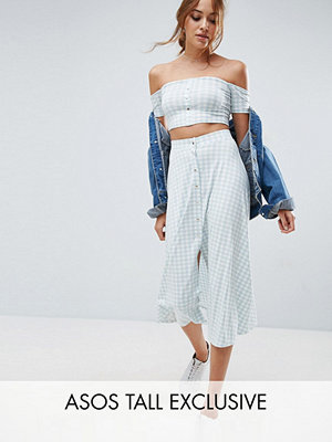 Asos Tall Gingham Button Through Midi Skirt Co-ord