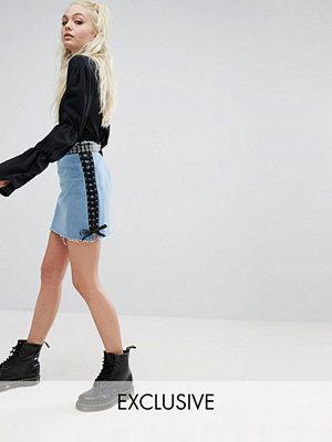 Milk It Vintage Denim Mini Skirt With Ribbon Lace Up Sides & Raw Frey Hem