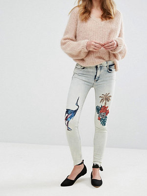 Pull&Bear Tropical Sequin Skinny Jeans