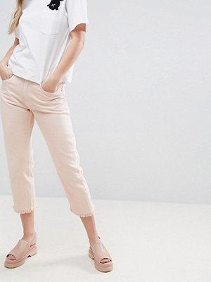 Jeans - Monki Cropped Frayed Hem Mom Jeans