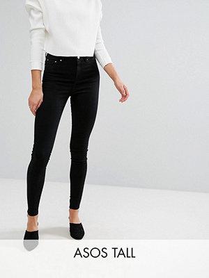 Asos Tall Ridley Svarta jeans i skinny fit med hög midja