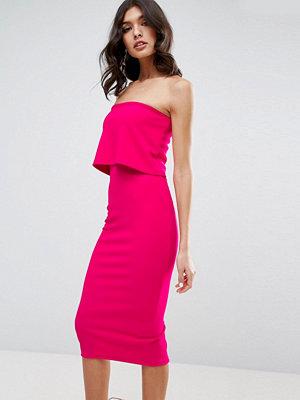 ASOS Crop Top Midi Bodycon Dress - Hot pink