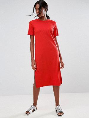 ASOS Chunky Ribbed Midi T-Shirt Dress with Half Sleeve