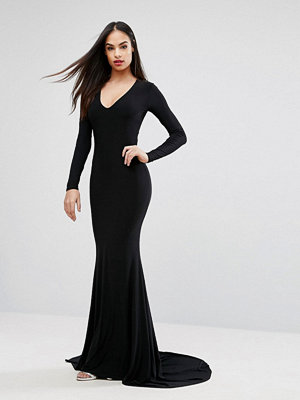 Club L Plunge Neck Maxi Dress with Fishtail