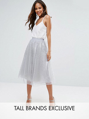 Little Mistress Tall Allover Pearl Embellished Full Midi Prom Skirt