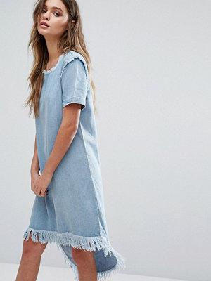 Only Raw Edge Denim Dress with High Low Hem - Light blue denim