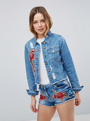 Parisian Denim Jacket With Rose Embroidery