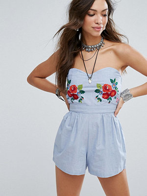 Glamorous Strapless Playsuit With Floral Embroidery
