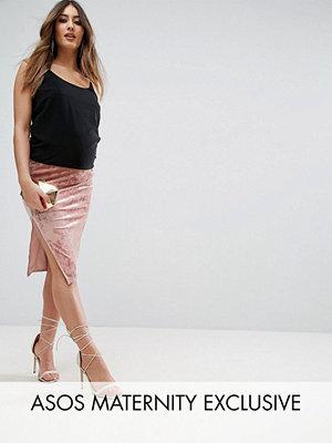 ASOS Maternity Over The Bump Velvet Midi Skirt with Thigh Split - Pale pink