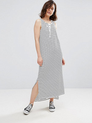 Brave Soul Stripe Lace Up Detail Maxi Dress