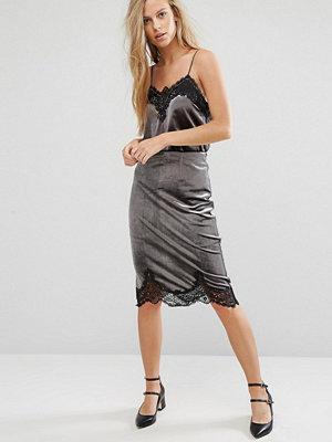 Miss Selfridge Velvet Lace Trim Skirt