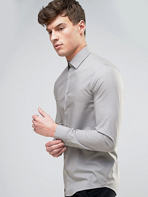 Calvin Klein Skinny Smart Shirt In Pale Grey