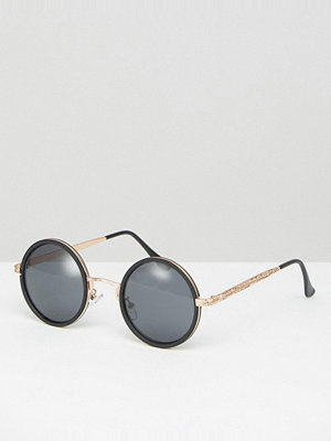ASOS Round Sunglasses In Black With Rose Gold