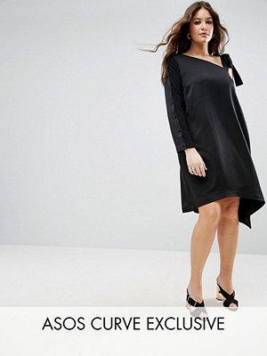 ASOS Curve One Shoulder Tie Detail Asymmetric Hem Dress