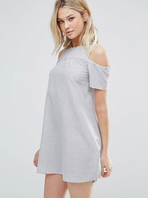 Brave Soul Cold Shoulder Stripe Dress