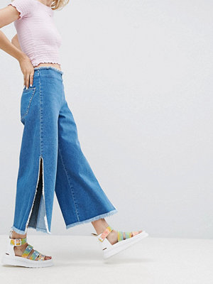ASOS Wide Leg Jeans with Side Splits and Raw Waistband