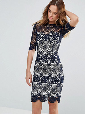 Paper Dolls Navy Crochet Lace Dress With Contrast Lining