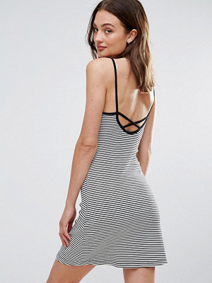 Brave Soul Strappy Dress in Stripe with Cross Back
