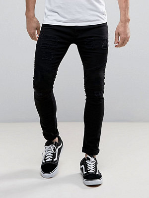 Jeans - Soul Star Skinny Rip and Repair Biker Jeans