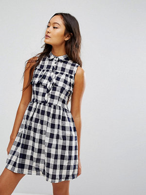 Qed London Gingham Shirt Mini Dress
