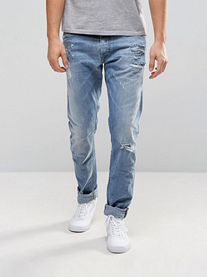 Jeans - Diesel Tepphar Skinny Jeans 0857F Light Distressed Wash
