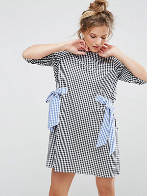 ASOS Gingham Shift Dress with Bow Details