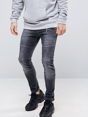 Jeans - ASOS Super Skinny Jeans With Double Zip And Biker Details In Washed Black