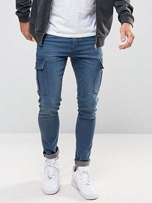Jeans - ASOS Super Skinny Jeans With Cargo Details In Smokey Blue