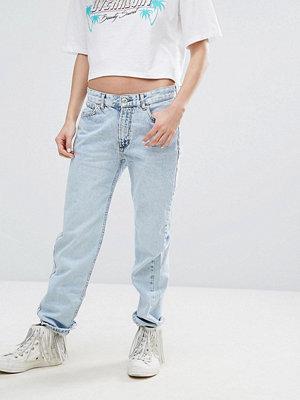 Pull&Bear Bleached Straight Leg Jeans - Light blue