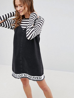 ASOS X LOT STOCK & BARREL Denim Dress With 'All Girls Go To Heaven' Embroidery