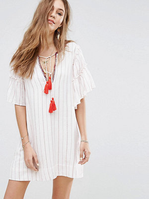 Moon River Embroidered Neck Opening Mini Dress