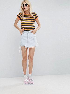 ASOS Denim Low Rise Pelmet Skirt in Bleach Wash with Rips